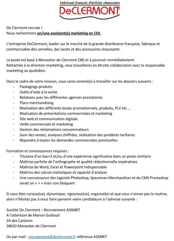 annonce recrutement assistant(e) marketing